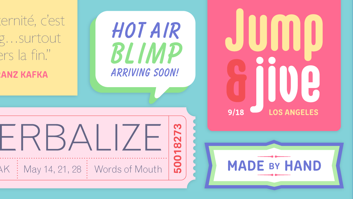 Browse fonts in the Fonts for Creative People font pack
